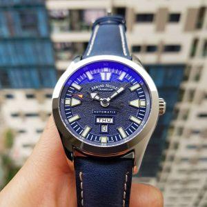 Armand Nicolet Tramelan Day Date M02 Automatic Blue Leather Men's Watch 9740M-BU-P140BU2