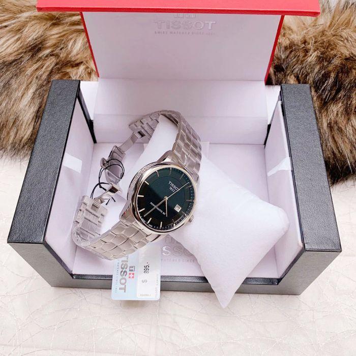 Tissot T-Classic Powermatic 80 Automatic Mặt Tròn Màu Đen Dây Kim Loại Màu Bạc Lịch Ngày T086.407.11.051.00