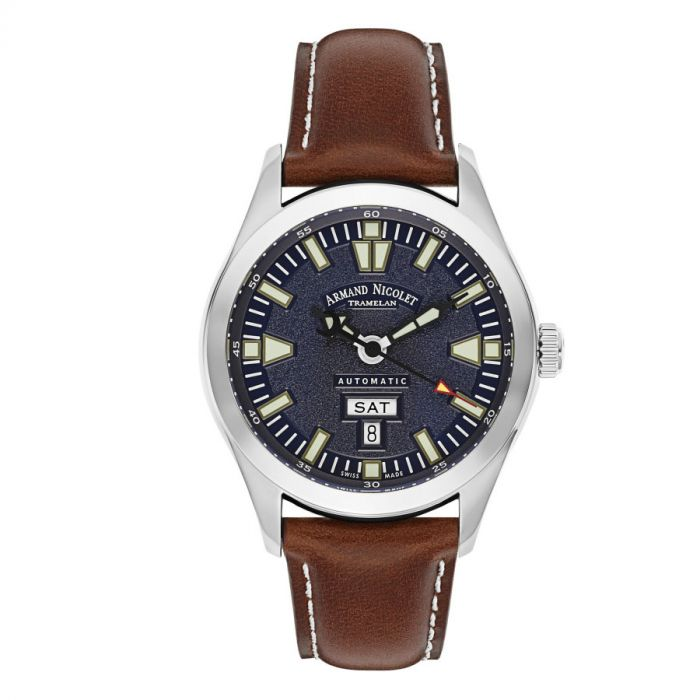Armand Nicolet Tramelan Day Date M02 Automatic Brown Leather Men's Watch 9740M-BU-P140MR2