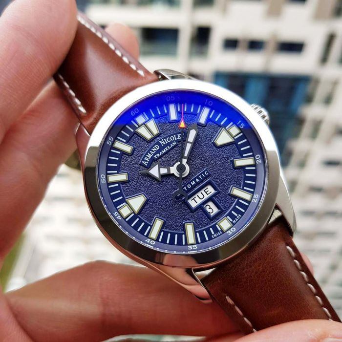 Armand Nicolet Tramelan Day Date M02 Automatic Brown Leather Men's Watch 9740M-BU-P140MR2