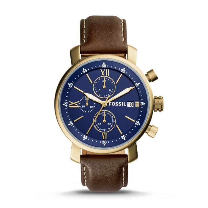 Fossil Rhett Chronograph Blue Dial Brown Leather Men's Watch BQ2099
