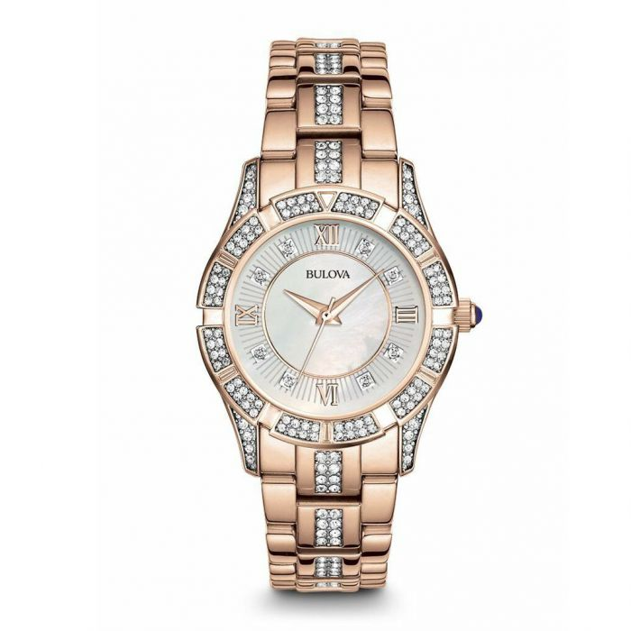 Bulova Swarovski Crystal Rose Gold Women's Watch 98L197