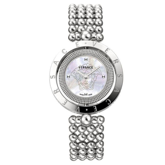 Versace Eon Mặt Tròn 2 Vòng Xoay Màu Bạc Dây Kim Loại V79090017