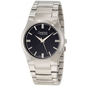 Caravelle by Bulova Black Dial Silvertone Men's Watch 43A106