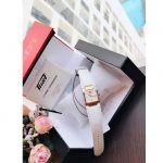 Tissot T-Collection Mặt Chữ Nhật Khảm Trai Viền Vàng Hồng Dây Da Màu Trắng Lịch Ngày T090.310.36.111.00