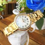 Bulova White Mother of Pearl Dial Rose Gold Diamond Accented Women's Watch 98R156