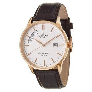 Edox Les Vauberts Day Date Automatic Brown Leather Men's Watch 83007-37R-AIR