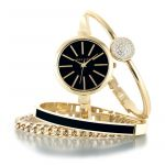 Anne Klein Gold and Black And Bracelet Set Women's Watch 1470GBST