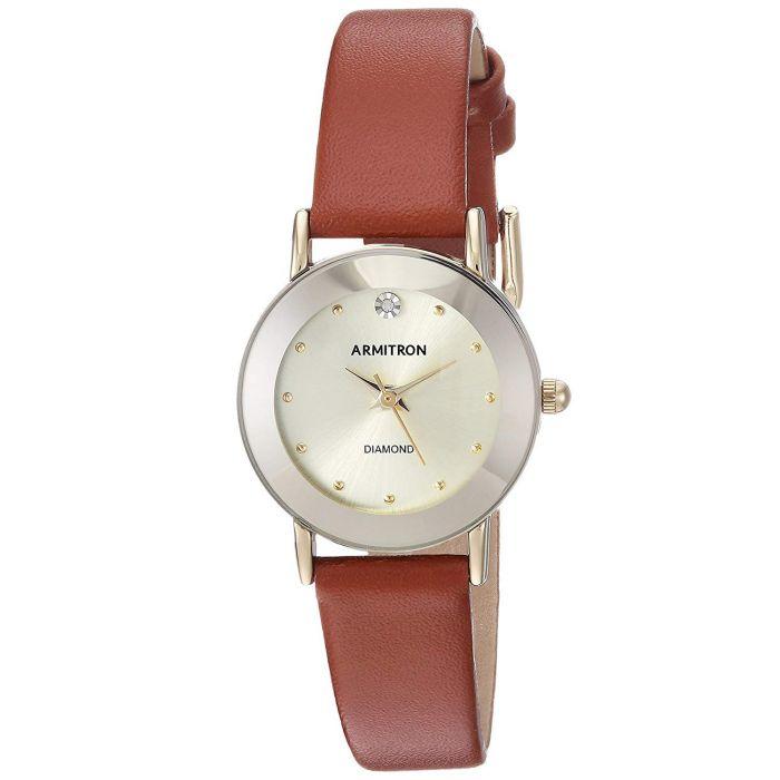 Armitron Diamond Accented Brown Leather Women's Watch 75/2447CHGPBN