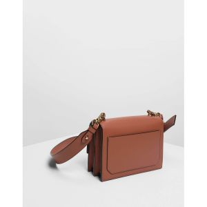 Charles & Keith Metallic Accent Push Lock Cognac Women's Bag CK2-80670875
