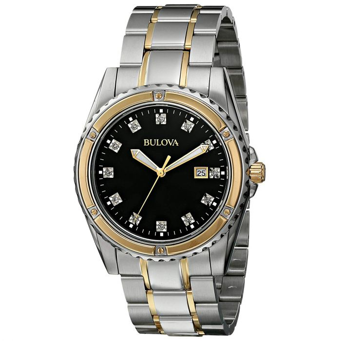 Bulova Diamond Black Dial Stone Men's Watch 98D122