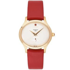 Tissot Bella Ora White Mother of Pearl Red Leather Women's Watch T103.310.36.111.01