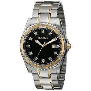 Bulova Diamond Black Dial Stone Men's Watch 98D122