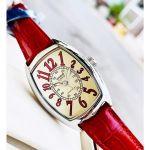 Casio Mặt Chữ Nhật Màu Bạc Dây Da Màu Đỏ LTP-1208E-9B2