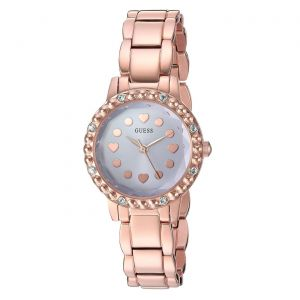 Guess Rose Gold Tone Purple Dial Heart Crystal Women's Watch U0907L3