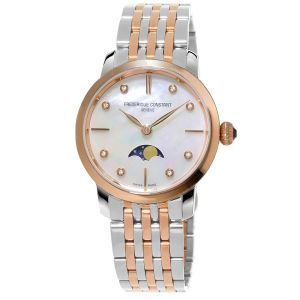 Frederique Constant Moonphase Diamond Two Tone Women's Watch FC-206MPWD1S2B