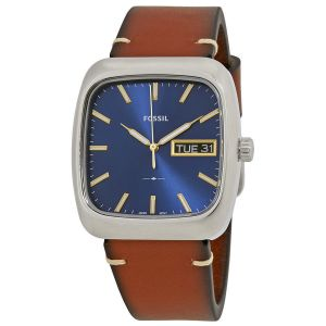 Fossil Rutherford Blue Dial Brown Leather Men's Watch FS5334