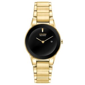 Citizen Axiom Black Dial Yellow Gold Tone Women's Watch GA1052-55E