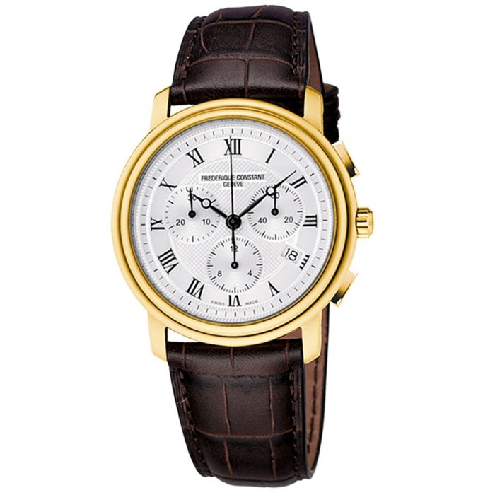 Frederique Constant Persuasion Guilloche Chronograph Brown Leather Men's Watch FC-292MC4P5