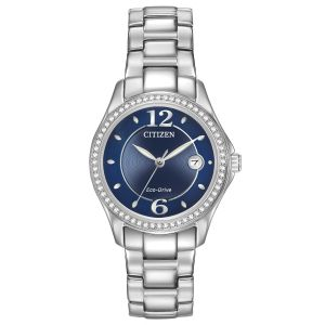 Citizen Silhouette Crystal Eco-Drive Blue Dial Stainless Steel Women's Watch FE1140-86L