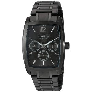 Caravelle New York Black Stainless Steel Men's Watch 45C111