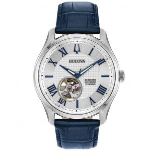 Bulova Wilton Automatic Open Heart Blue Leather Men's Watch 96A206