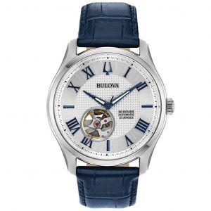 Bulova Wilton Automatic Open Heart Blue Leather Men's Watch 96A206