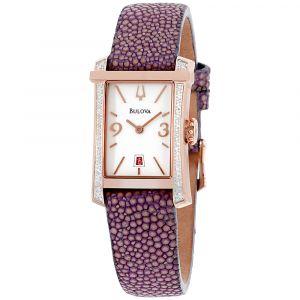Bulova Diamond Gallery White Dial Purple Women's Watch 98R197
