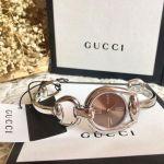 Gucci Horsebit Mặt Tròn Màu Nâu Dây Kim Loại Màu Bạc YA139501