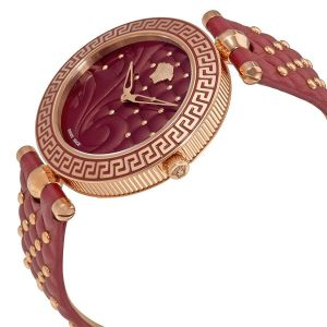 Versace Vanitas Leather Studs Red Enamel Women's Watch VK7750017