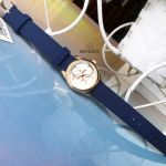 Guess Micro G Mặt Tròn Logo Màu Vàng Hồng Dây Da Màu Xanh W1146L2