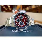 Orient Chronograph Mặt Tròn Màu Đỏ Dây Kim Loại Màu Bạc RA-KV0004R10B