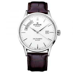 Edox Les Vauberts Day Date Automatic Stainless Steel and Leather Men's Watch 83007-3-AIN