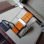 Hamilton Jazzmaster Open Heart Automatic Mặt Tròn Màu Xanh Dây Da Màu Nâu H32705541