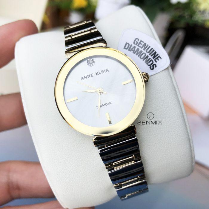 Anne Klein Diamond Dial Demi Gold Tone Polished Bracelet Women's Watch AK/2435SVTT