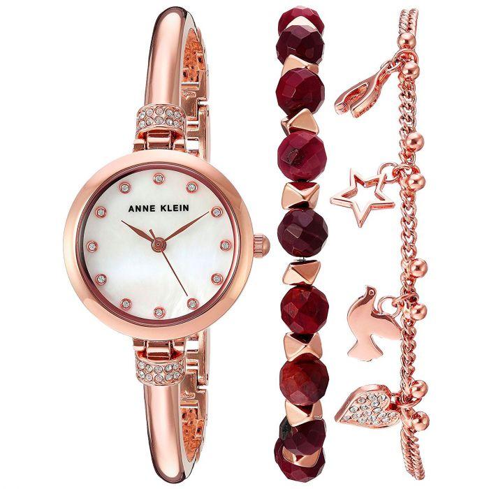 Anne Klein Metal Mother of Pearl Bracelet Set Women's Watch AK/2840RJAS