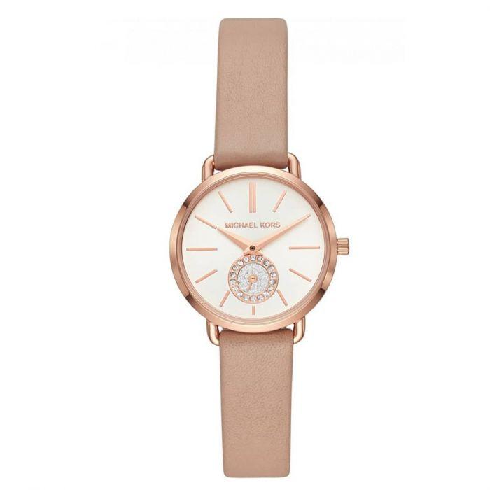 Michael Kors Petite Portia Mocha Leather Women's Watch MK2752