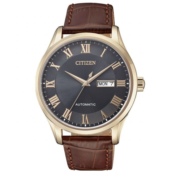 Citizen Automatic Charcoal Dial with Brown Leather Strap Men's Watch NH8363-14H