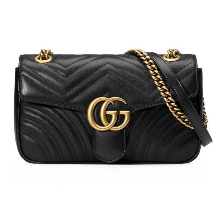 Gucci GG Marmont Matelassé Màu Đen Dây Xích Đáp Da Màu Vàng 443497 DTDIT