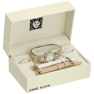 Anne Klein Swarovski Crystal Accented Gold-Tone Interchangeable Bezel Women's Watch 3140INST