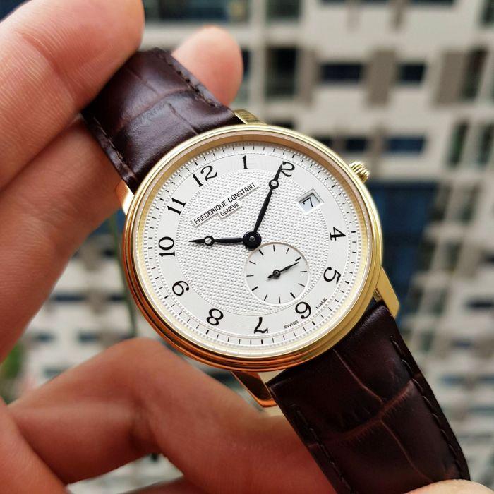 Frederique Constant Slim Line Guilloche Brown Leather Men's Watch FC-245AS4S5