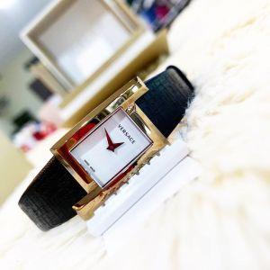 Versace Greca Icon Mặt Chữ Nhật Viền Vàng Hồng Dây Da Màu Đen VELU00419