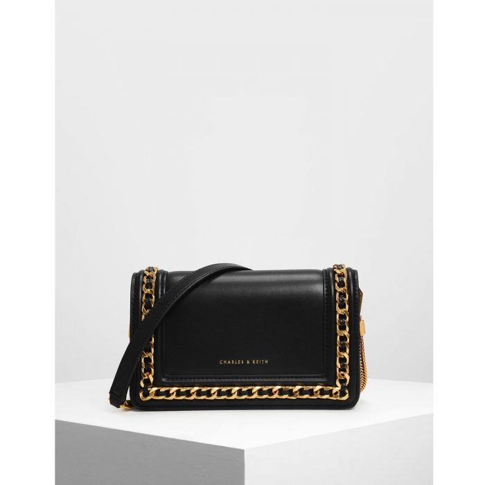 Charles & Keith Chain Rimmed Black Women's Clutch CK2-70840146