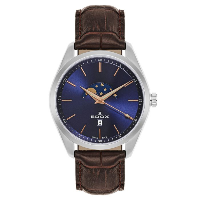 Edox Les Vauberts Moon Phase Blue Men's Watch 79018-3-BUIR
