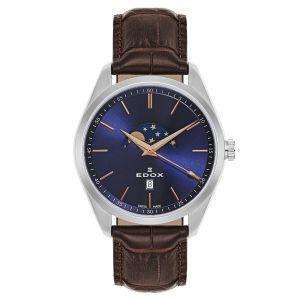 Edox Les Vauberts Moon Phase Blue Men's Watch 79018-3-BUIR