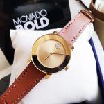 Movado Bold Mặt Tròn Màu Vàng Dây Da Màu Nâu 3600437