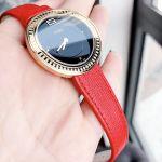Fendi My Way Mặt Tròn Màu Đen Viền Vàng Dây Da Màu Đỏ F354431073