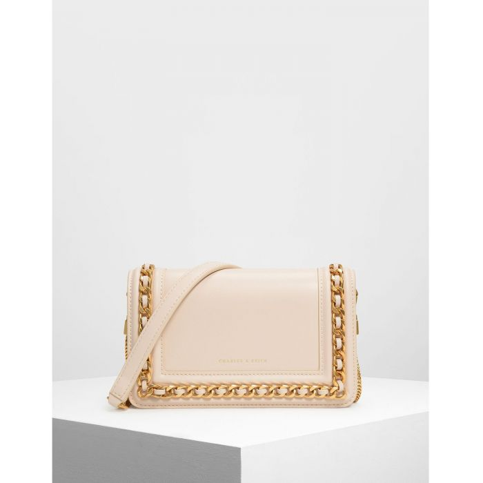 Charles & Keith Chain Rimmed Light Pink Women's Clutch CK2-70840146
