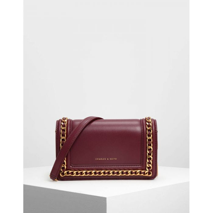 Charles & Keith Chain Rimmed Prune Women's Clutch CK2-70840146