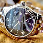 Frederique Constant Classics Index GMT Automatic Mặt Tròn Màu Đen Dây Kim Loại Màu Bạc Lịch Ngày FC-350B5B6B